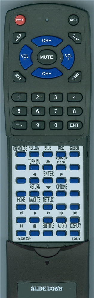 SONY 1-493-123-11 RMT-VB201U Custom Built Redi Remote