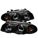 BMW E46 3-Series 99-01 4DR 1PC Halo Amber Projector Headlights - Black