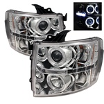 07-08 Chevy Silverado Halo LED Projector Headlights - Chrome