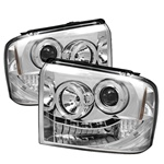 Ford F250 / Supderduty 05-07 Halo LED Projector Headlights - Chrome