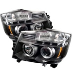 Nissan Titan 04-07 Halo LED Projector Headlights - Black