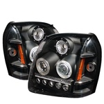 07-08 GMC Yukon/Denali LED Projection Headlights Amber - Black