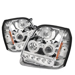 07-08 GMC Yukon/Denali LED Projection Headlights Amber - Chrome