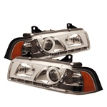 BMW E36 92-98 2DR 1PC DRL LED Projector Headlights - Chrome