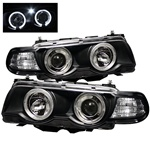 BMW E38 99-01 7 Series 1PC Halo Amber Projector Headlights - Black