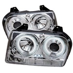 Chrysler 300 05-07 CCFL LED Projector Headlights - Chrome