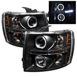 07-08 Chevy Silverado Halo LED Projector Headlights - Black