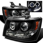 Chevy Suburban / Tahoe / Avalanche 07-08 Halo Projector Headlights - Black