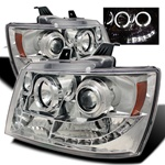 Chevy Suburban / Tahoe / Avalanche 07-08 Halo Projector Headlights - Chrome