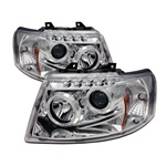 Ford Expedition 03-06 Halo LED Projector Headlights - Chrome