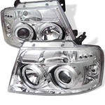 Ford F150 04-06 Halo LED Projector Headlights - Chrome