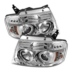 Ford F150 04-08 Version 2 Halo LED Projector Headlights - Chrome