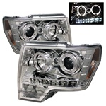 Ford F150 09-10 Halo LED Projector Headlights - Chrome