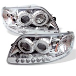 Ford F150 97-03 ( Will Not Fit Anything Before Manu. Date June 1997 ) 1PC Halo LED Projector Headlights - Black 1PC Halo LED Projector Headlights - Chrome