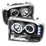 Ford F250/F350 Super Duty 99-04 / Ford Excursion 00-05 1PC Dual Halo LED Projector Headlights G2 Version - Black