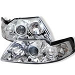 Ford Mustang 99-04 Halo Projector Headlights - Chrome