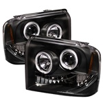 Ford F250 / Superduty 05-07 Halo LED Projector Headlights - Black