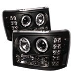 GMC Sierra 07-09 Halo Projector Headlights - Black