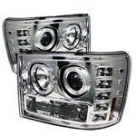 GMC Sierra 07-09 Halo Projector Headlights - Chrome