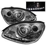 Mercedes Benz W220 S-Class 00-06 DRL LED Projector Headlights - Chrome