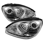 Mercedes Benz W220 S-Class 00-06 ( HID TYPE ) DRL LED Projector Headlights - Chrome