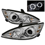 02-06 Toyota Camry Halo Projector Headlights - Chrome
