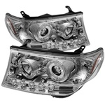Toyota Land Cruiser 08-09 Halo Projector Headlights - Chrome