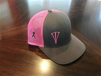 Grey and Breast Cancer Pink Mesh Snapback