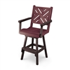 Bar Height Chippendale Chair with Wide Slat Back and Swivel