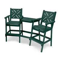 Bar Height Chippendale Chair with Wide Slat Back Tete-a-Tete