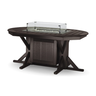 "44"" x 66"" Oval Framed Bar Height Fire Table with 4 Swivel Stools"