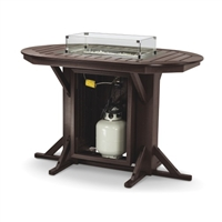 "44"" x 66"" Oval Framed Bar Height Fire Table with 4 Swivel-Flex Chairs"