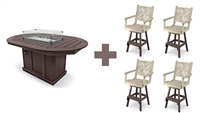 "44"" x 66"" Oval Framed Bar Height Fire Table with 4 Swivel Chairs"