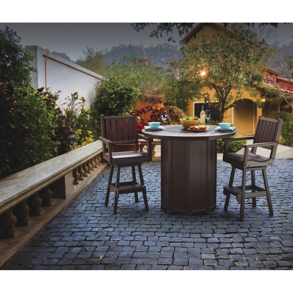 """51"""" Round Framed Bar Height Fire Table with 4 Bar Stools"""