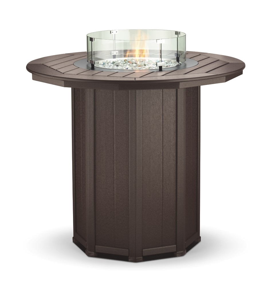 51 round framed bar height fire table with 4 swivel stools watchthetrailerfo