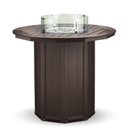 "51"" Round Framed Bar Height Fire Table with 5 Chairs"