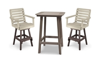 "28"" Round Framed Bar Height Table with 2 Chairs"