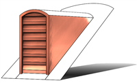 copper roof vent, copper roof vents, roof dormers, roof vents, arch roof vent, tombstone roof vent, dormer vent, dormer louver, copper roof louver, roof vent