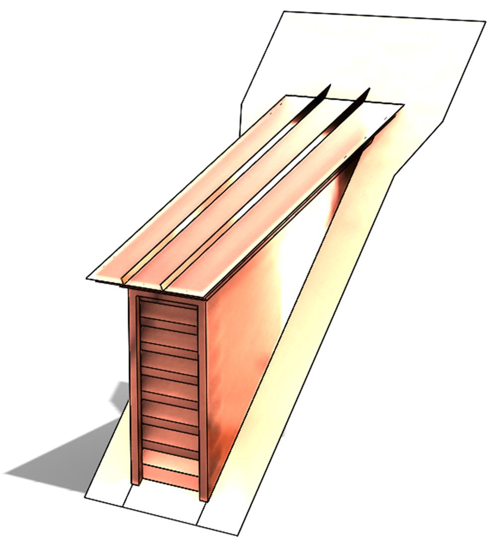 Copper Shed Top Dormer Vent on side vents for sheds, lights for sheds, roofing for sheds, gutters for sheds, gable vents for sheds, cupolas for sheds, metal roofs for sheds, windows for sheds,