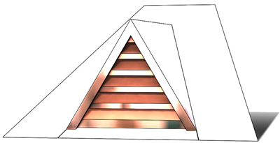 roof vent, copper full dormer, gable roof vent, triangular roof vent, copper gable roof vent, pitched roof vent, pitched copper vent, copper, vent,