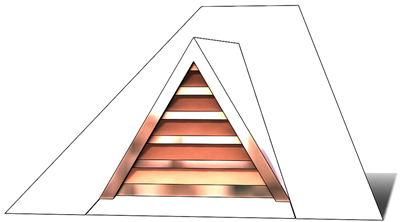 roof vent. copper vent, copper full dormer, gable roof vent, triangular roof vent, copper gable roof vent, pitched roof vent, pitched copper vent, copper, vent, roof dormer