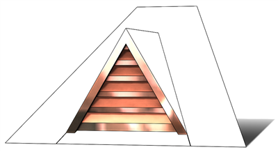 roof vent, copper full dormer, gable roof vent, triangular roof vent, copper gable roof vent, pitched roof vent, pitched copper vent, copper, vent