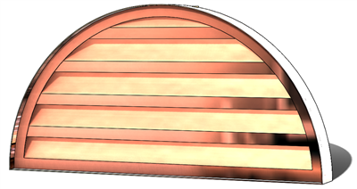 Gable vents, copper gable vent, half circle gable vent, half round vent, circle top vent, copper half round louver, copper half round gable vent, half circle louver