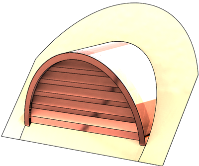 "36"" Half Round Roof Dormer for 15:12 Pitch"