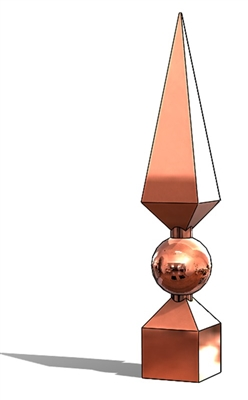 Copper Georgian Roof Finial, Copper roof spire, finial, copper finial, roof finial, roof spire, spire