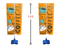 7' Double-Sided Outdoor Vertical Advertising Flag Stand