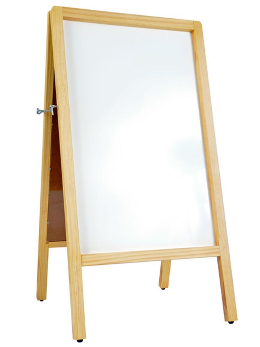 A-Frame Wooden Sidewalk White Marker Board Easel