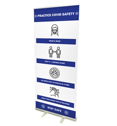 "33"" Roll Up Retractable Banner Stand With Print"