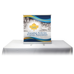 Table Top Retractable Roll Up Banner Stand 33'' with Vinyl Print