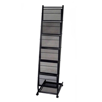 6-Pocket Mobile Stand Magazine Rack - Medium